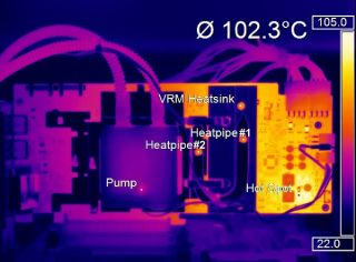 Temperature distribution on a motherboard