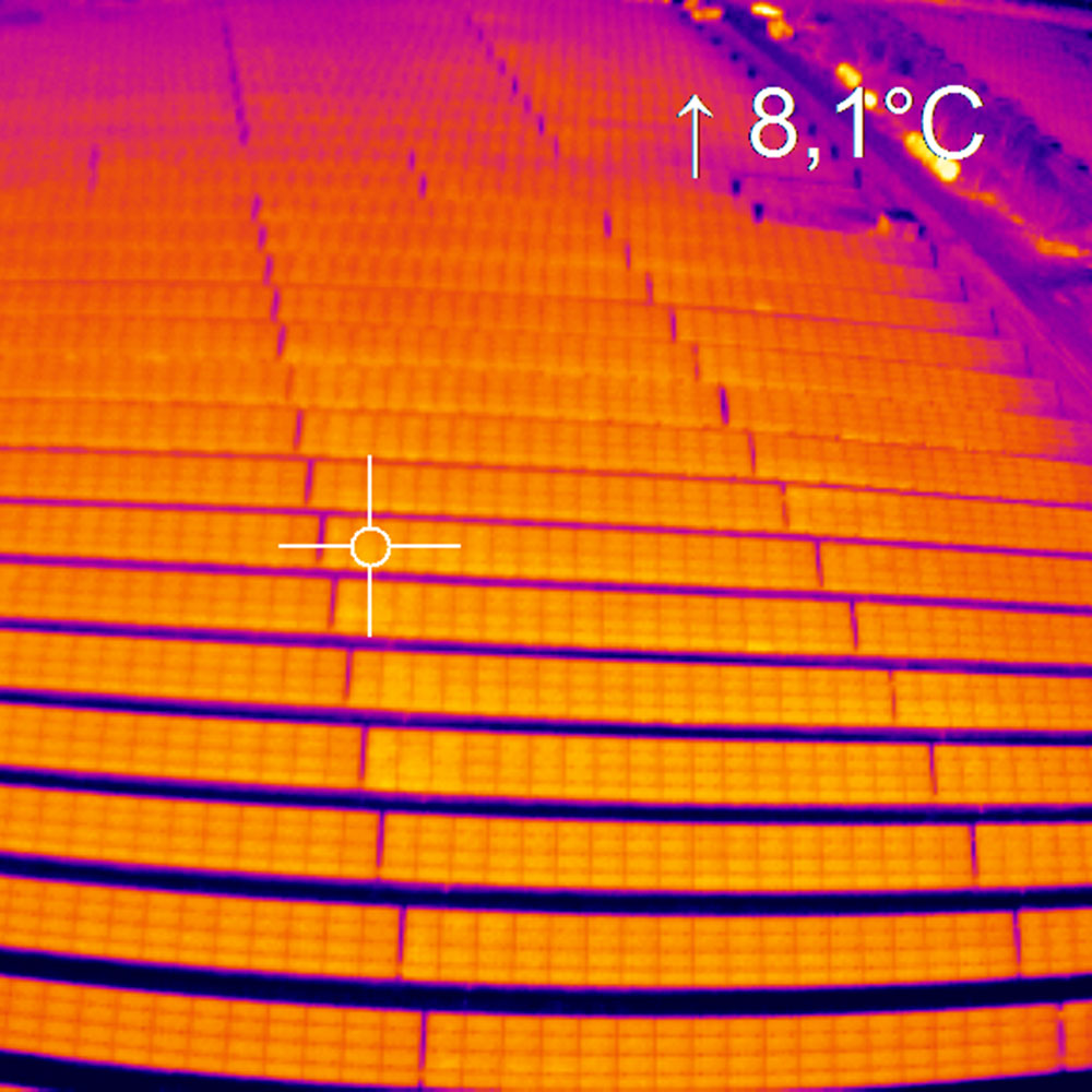 Thermal image of solar panel